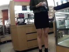 Supermodel legs and ass in spandex mini skirt