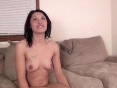 cute amateur asian chick on the casting couch