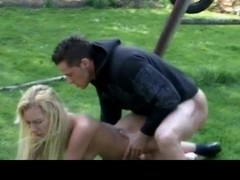Jealous blonde punishes slut with spank and cock suck