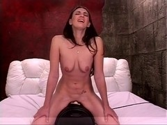 Hot bich is riding sex-toy in bedroom and shows her love melons and rectal hole