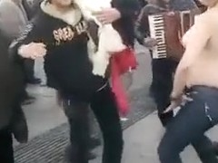 Chubby Romanian girl undresses at outdoor dance party