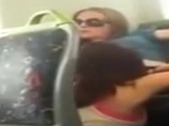 Lesbian pussy licking on the train