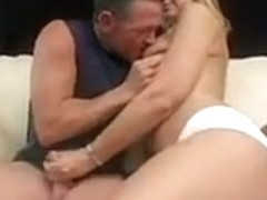 Brianna Beach strokes her trainors cock while her nips licked