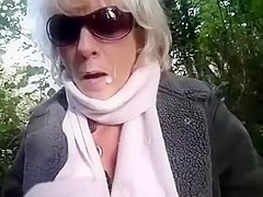 Scottish sexually lascivious light-haired woman I'd like to fuck gives a head in the park