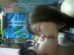 Cute glassed asian girl has oral, missionary and cowgirl sex with creampie