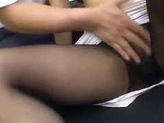 Hot Asian babe Misaki Inaba serves up a footjob at work