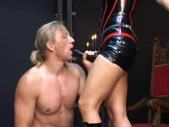 Slut in latex nailed her lover with a strapon