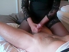 Jerking Off a long hard strapon