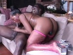 Black hooker in fishnets gets her tight pussy pounded real hard