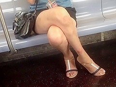 Candid slender legs and feet
