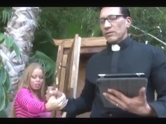 Curvy blonde Latina girl fucked by a priest