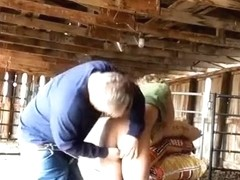 Redneck farmer creampies his wife in the cowshed