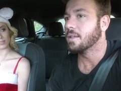 Petite hitchhiker Haley Reed rubs her pussy in the car