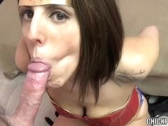 Busty MILF Lavender Rayne sucks dick in her sexy costume