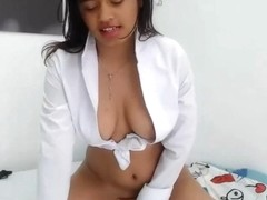 sexy latina with collar shirt up