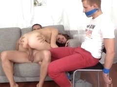Young Euro Rides Dick While Her Bf Watches