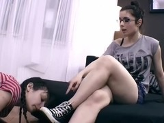Lesbian slave worshiping shoes, socks and feet!