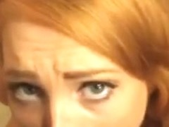 Redhead ginger insane blowjob caught throat