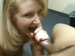 Stunning and sheen blonde stands on her knees and tastes black penis
