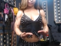 Young girl flexing incredible biceps and veins 1