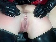 Tied busty slut gets boned and mouth-fucked