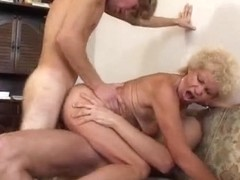 Hirsute Grandma Takes It In One As Well As The Other Holes