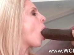 Busty cougar Angela Attison riding a huge cock