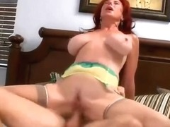 Naughty redhead cougar  gets assfucked in her bed