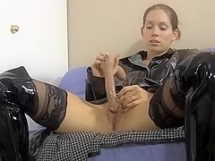 Raincoat Boots Dildo Masturbation