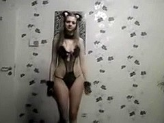Enchanting german cutie in catsuit gives blow job stimulation and takes cum