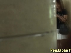 Asian hos urinate on toilet ### cam