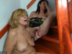 Fat granny and fat mature masturbating pussy together