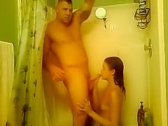 Military wife is fucked in the shower