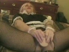 wife masturbating in a french maid outfit