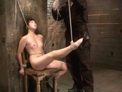 18yr Old Is Bound To The Chairneck Rope Limits Her Breathing, This Makes Her Cum Hard And Often. -.
