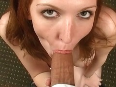 Young petite redhead Sally Rodeo loves big cocks and facials