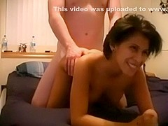 Fantastic short haired wife gets drilled and cummed