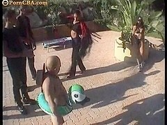 Big Brasilian anal orgy at the pool
