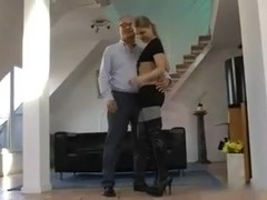 Old boy and blonde russian slut
