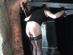 Leathered Lady cumshot on her boots