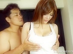 Naughty Japanese AV model in mmf group fucking
