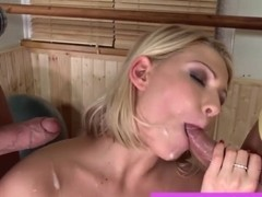 Hot blonde in threesome gets facialed