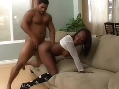 Muscled black dude has a cute ebony babe blowing and fucking his prick