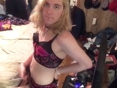 Sissy Trans Girl In Black Tall Boots Teases You While Jerking Her Hard Clit