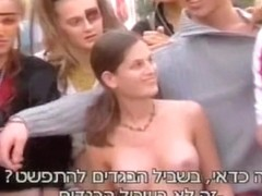 Voyeur public nudity clip with smiling cutie out of bra