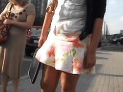 Cool public candid upskirt video of a unsuspecting slut