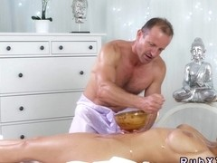 Busty blonde gets boobs oiled and cunt banged
