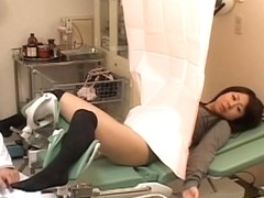 Japanese cutie got her slit examed by a pervy gynecologist