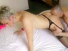 Blonde French girl in stockings is licked then fucked