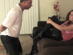 Girl with a riding crop humiliates her boyfriend